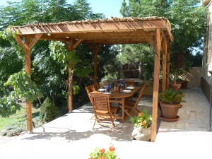 with vine and bamboo covered pergola.
